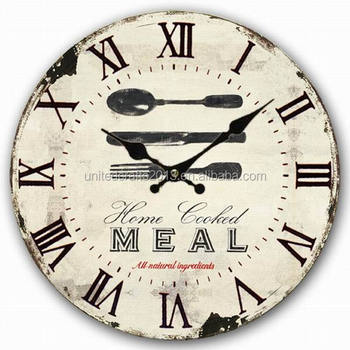 Reloj De Pared De Madera Antiguo De La Cocina Shabby Retro Reloj De ...