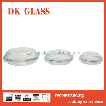 Heat Resistance Borosilicate Glass Pie Plate With Plastic Lid/Wholesale  Glass Food Storage Container For