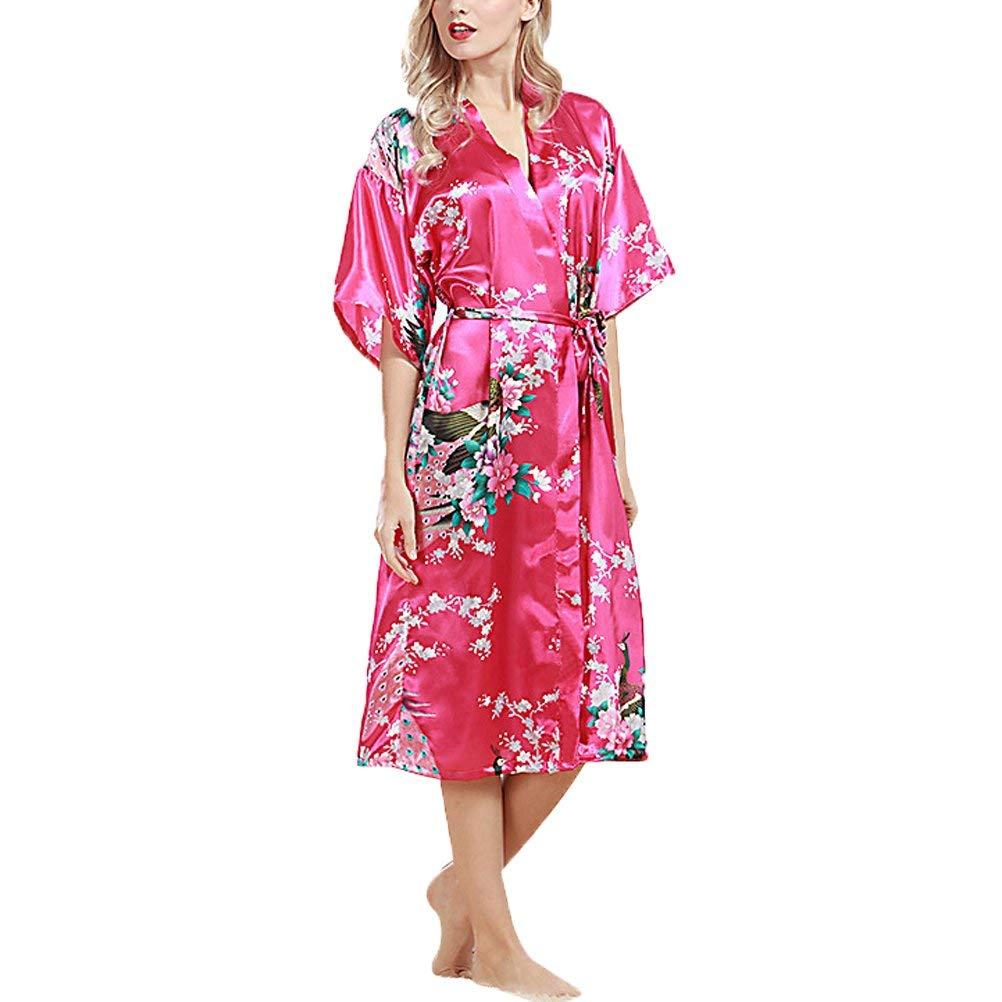 Get Quotations · Abuyall Silk Satin Kimono Bridal Wedding Gown Floral Sleepwear  Bathrobe 403457585