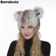 Hot selling fur women Hat For Women Winter Mink Fur knitted