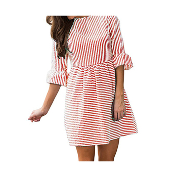 Women Half Riuffle Sleeve Stripe Mini Casual Dress