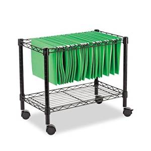 """Alera Strong Support up to 250lbs 24"""" Single-Tier Rolling File Cart, Black"""