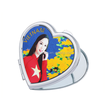 Wholesale price Vietnam souvenir Heart shaped Compact Mirror Double-sided Makeup Foil Photo Pocket Mirror