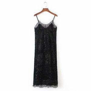 5b5d6dfcede794 Good quality fashion design black color lace patchwork women plain velvet slip  dress