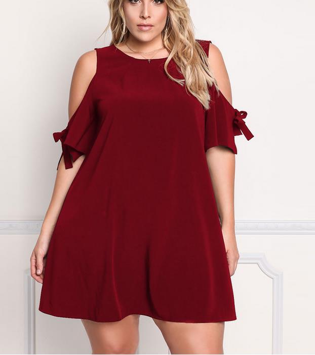 Plus Size Women Apparels Knitting Solid Color Off Shoulder Dress