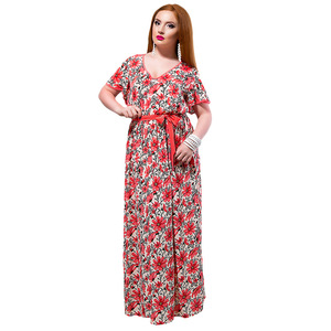 218f06be9dfd 2018 wholesale hot floral printed women s L-6XL Plus size summer maxi long  one piece