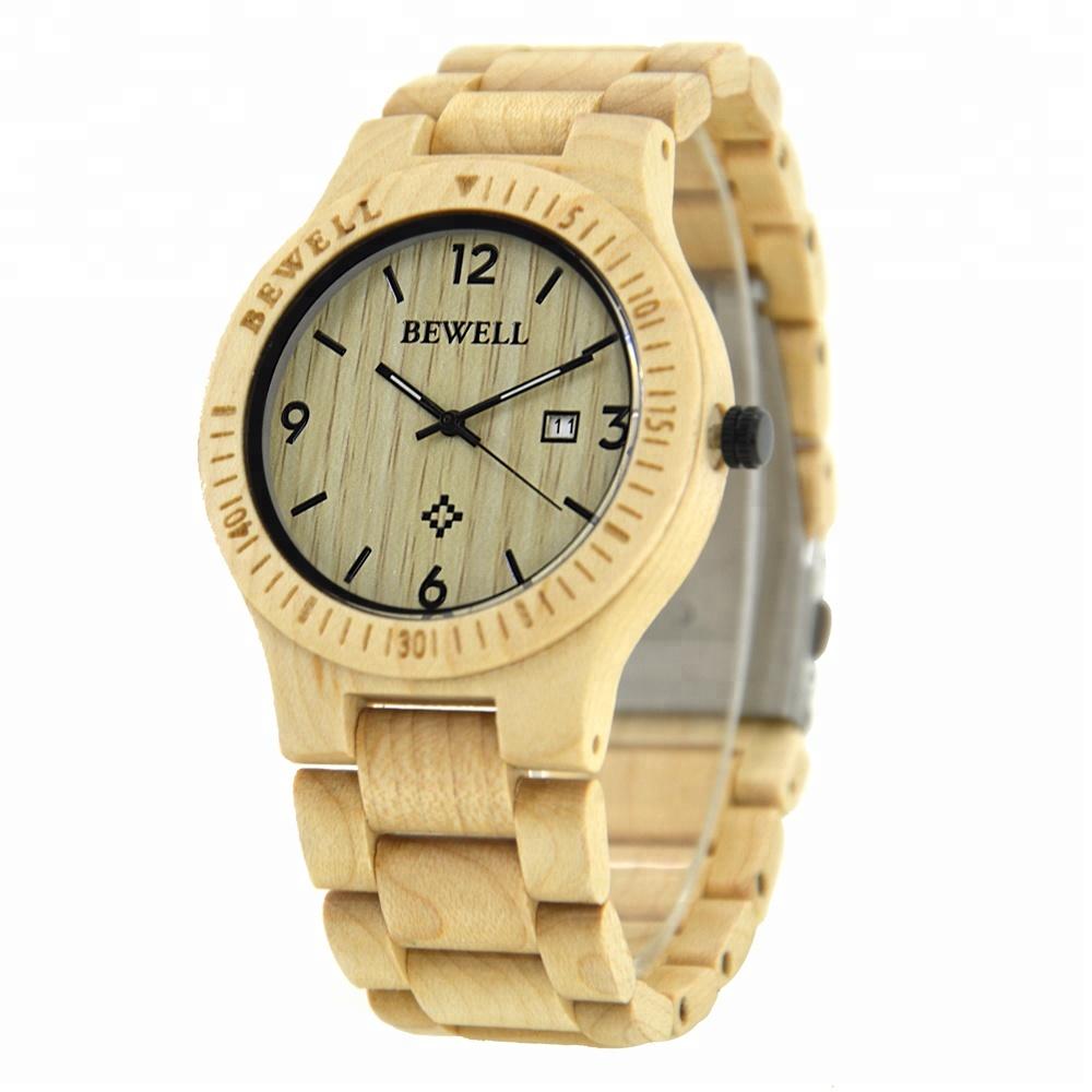 0b4fc014cde Produto quente por atacado homens relógio BEWELL madeira relógios de pulso