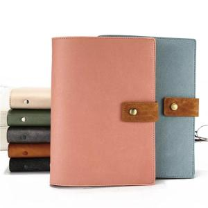 Cheap A5 loose leaf pu leather planner with ring binder business notebook custom logo calendar diary organizer for event