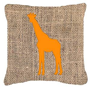 "Caroline's Treasures BB1001-BL-OR-PW1818 Giraffe Burlap & Orange Decorative Pillow, 18"" x 18"", Multicolor"