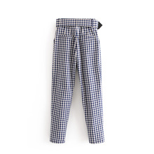 Z52656D Signore Cinghia Di Modo del <span class=keywords><strong>Plaid</strong></span> Casuali <span class=keywords><strong>Pantaloni</strong></span> Dritti Allentati