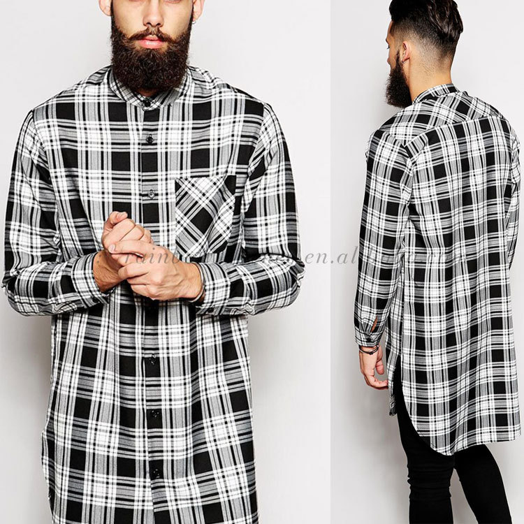 Longline Checked Curved Hem Wholesale Button Down Shirts