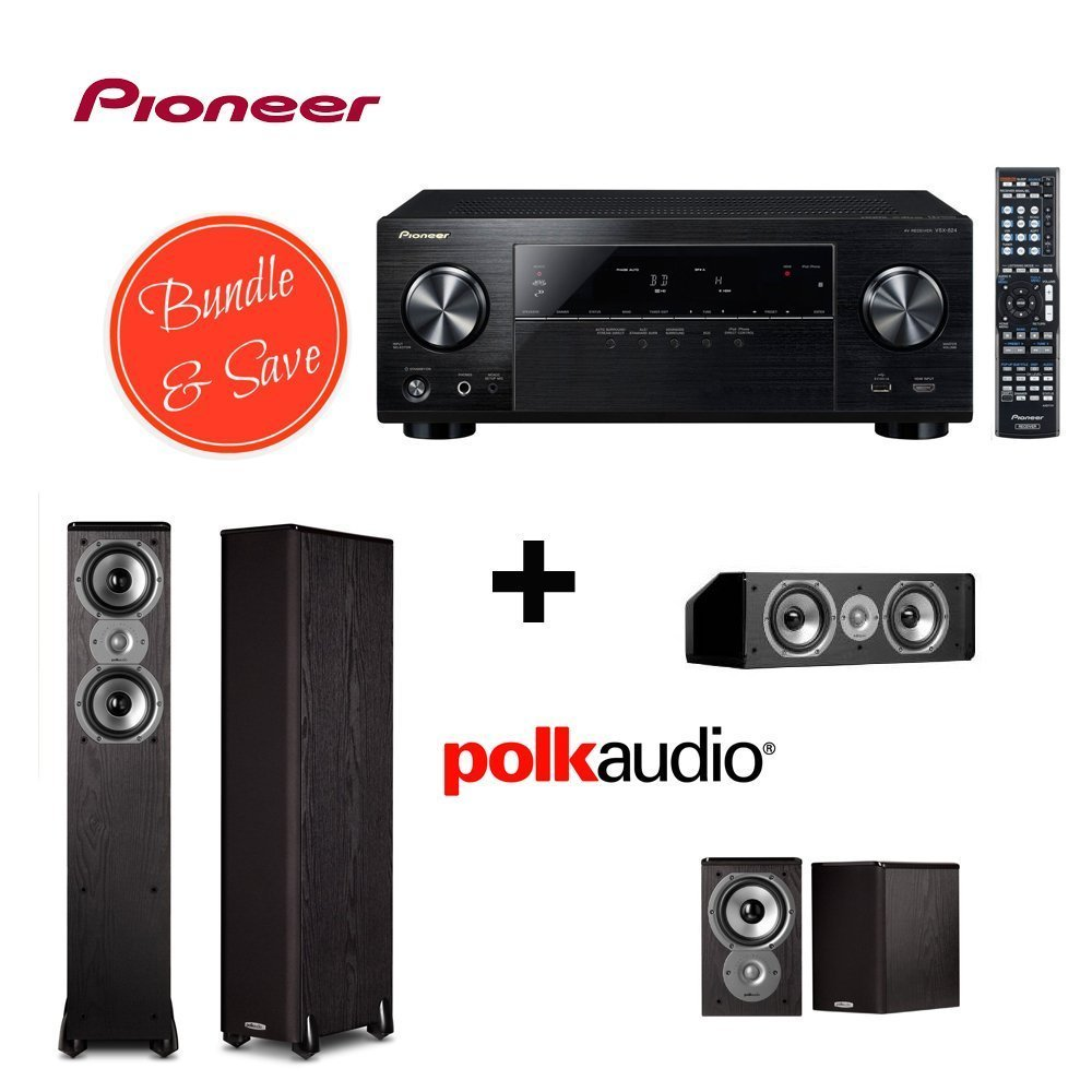 Pioneer VSX-824 5.2-Channel Network A/V Receiver (Black) + 2 Polk Audio TSi300 Floorstanding Speaker + Polk Audio TSi100 Bookshelf Speakers (Pair Black) + Polk Audio CS10 Center Channel Speaker (Single Black)