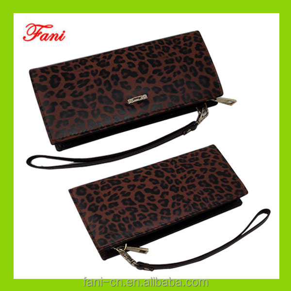 Elegant appearance woman leather wallet with leopard line design