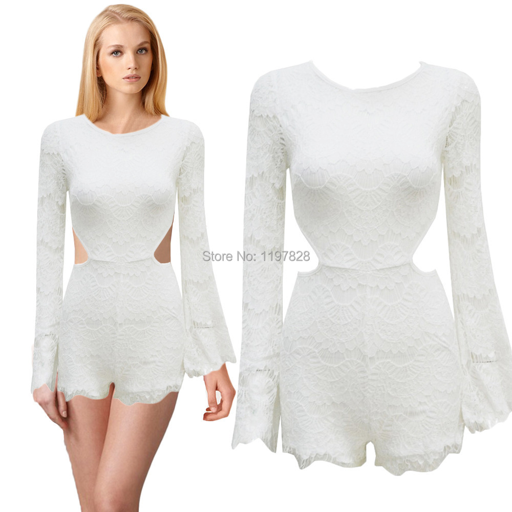 Buy Zipper Back Lace Bodycon Jumpsuit Shorts Club Sexy Jumpsuit Long