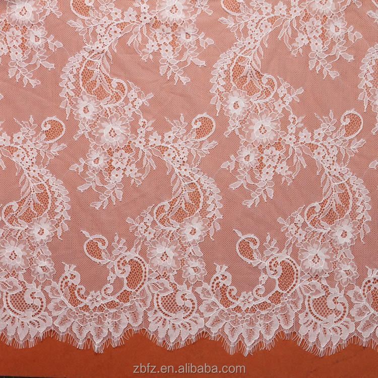 Pearl Beaded Lace Trim White Poly Lace Trim Floral Double ...