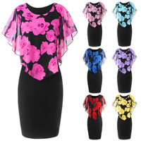 Latest ladies dresses new summer girl's Korean sweet flower print chiffon plus size dress