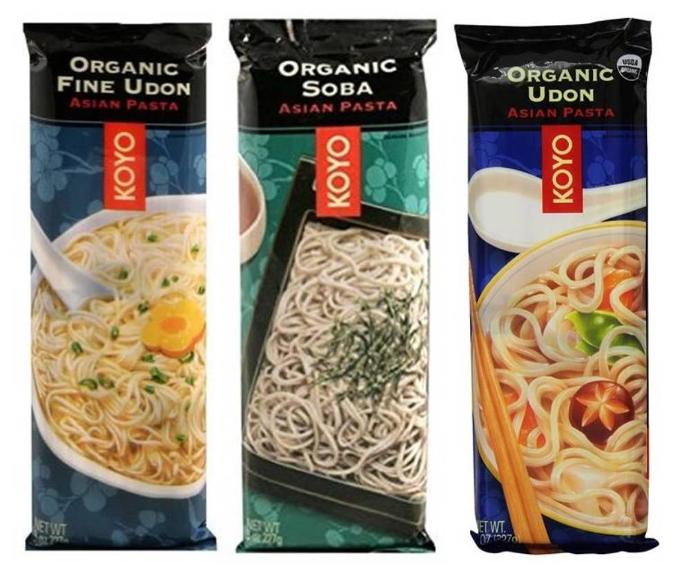 Koyo Organic Japanese Noodle 3 Flavor Variety Bundle: (1) Organic Soba, (1) Organic Udon, and (1) Organic Fine Udon, 8 Oz. Ea. (3 Packs Total)