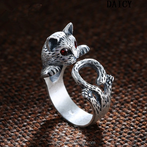 DAICY hot sale cute girl's Thai silver cat pussy ring