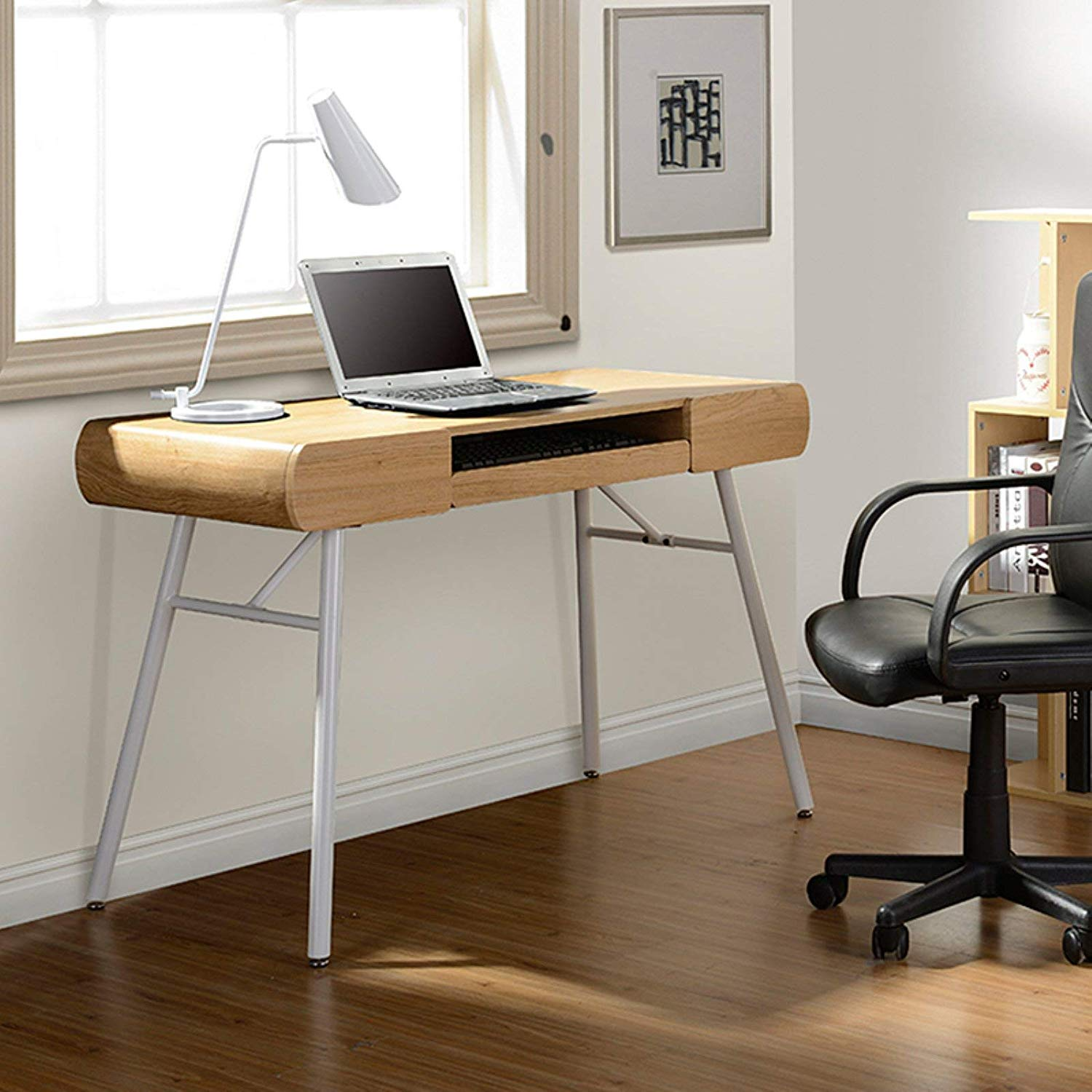 Contemporary Computer Desk, Rounded Edges, Durable, Powder-Coated Steel Legs, Office Furniture, Curved Ends, Wood, Two Side Drawers, Bundle with Our Expert Guide with Tips for Home Arrangement