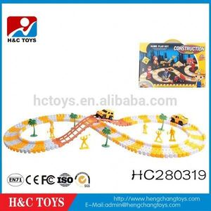 Best sale plastic assemble engineering rail cars building block, kids building blocks toys with 2 B/O car HC280319