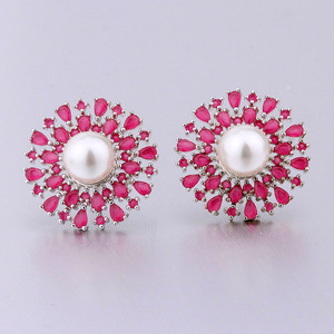semi joias wholesale cubic zirconia ruby stone pearl earrings