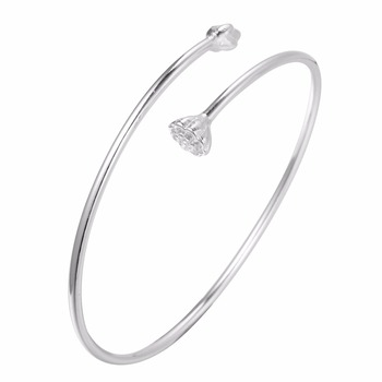 Beautiful 925 Sterling Silver Bracelet Simple Design Lotus Flower