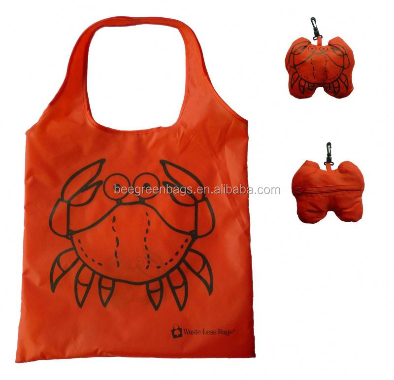 wholesale 210D Polyester fold up nylon bag with animal shape