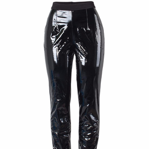 Fashion Sexy PU Leather Pants Winter High Waist Trousers Casual Black Elastic Female Skinny Pants Trousers Bottom 7866