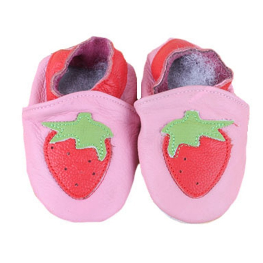 New 2015 baby first walker shoes genuine leather newborn baby girl toddler shoes Infant Pink Strawberry Soft Sole Baby Shoes