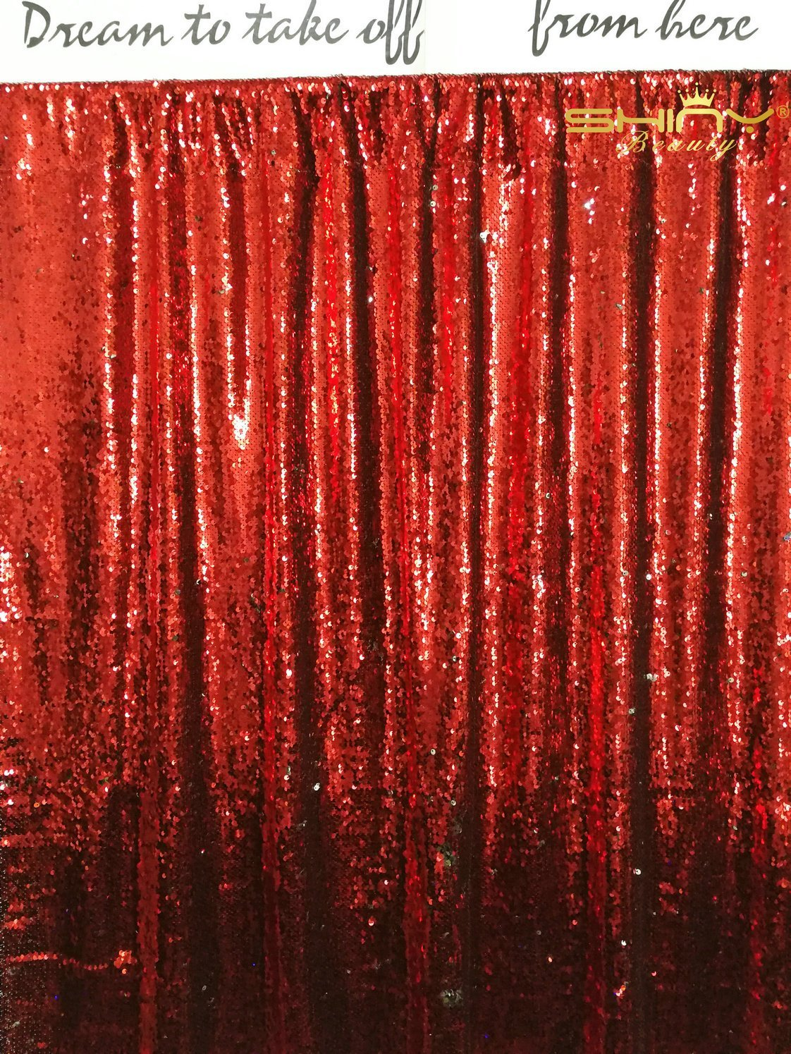 ShinyBeauty Mermaid-Sequin Backdrop-Red&Silver-2FTX8FT,Reversible Sequin Photo Booth Backdrop,Unique/Shimmer Party(Silver #21)