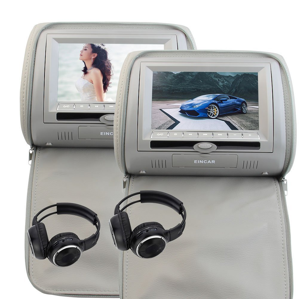 2 Free Wireless IR Headphones Eincar Gray grey Built-in IR FM Transmitter Double Car Pillow Monitors Dual DVD player 7 Inch Twin Screens Pair of Headrests Supports 32 Bit Games