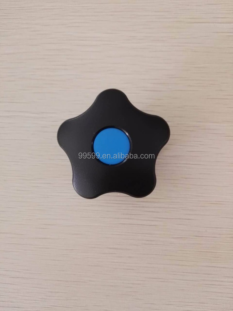 star shaped knurled plastic knob with carbon steel stud or thread insert