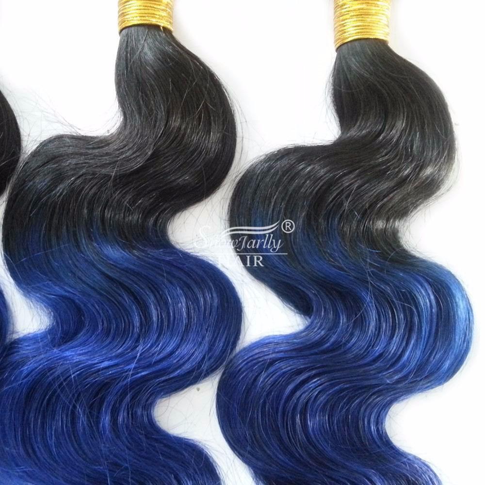 Blau Sew In Menschliche Haare Flechten Ombre Brasilianische Blau Schwarz Menschliche Haarwebart 100 Remy Menschen Weaving Buy Günstige Remy