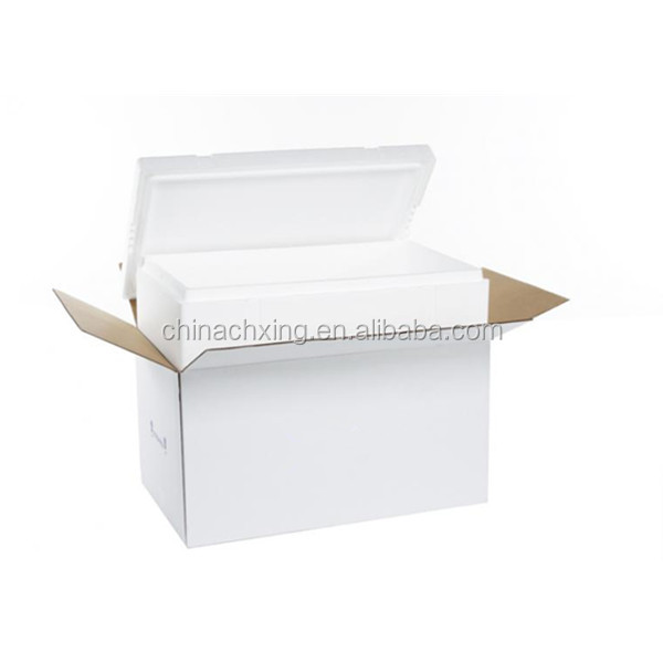 Styrofoam Fish Boxes with white color cardboard box for Shipping
