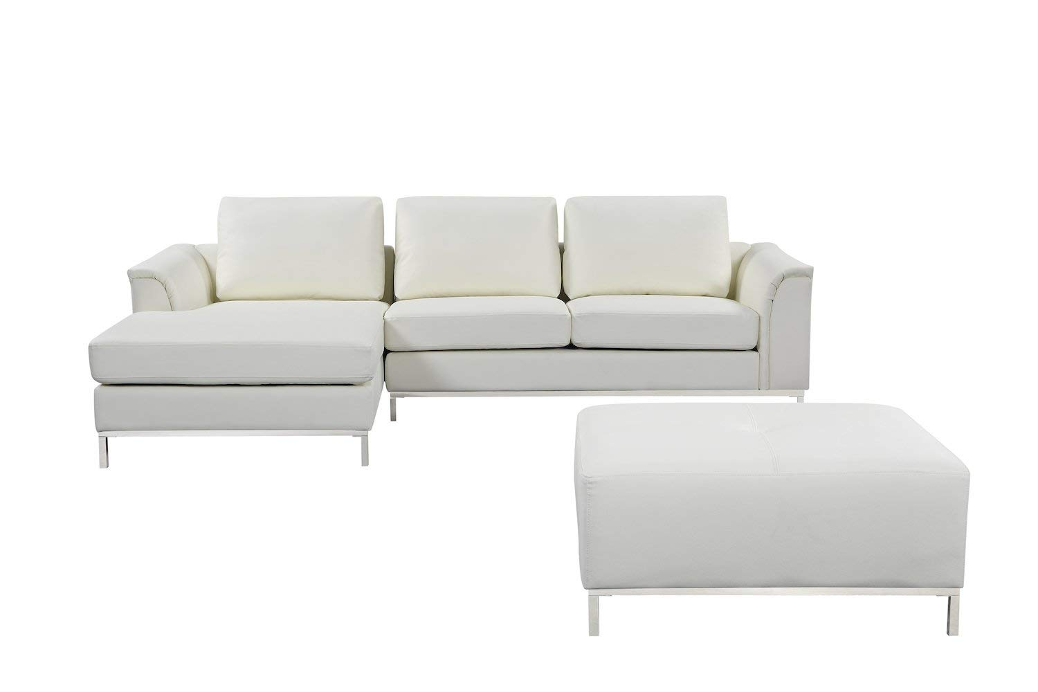 "Velago Ollon Modern Leather Sectional Sofa Set, 106"" W, Cream White"