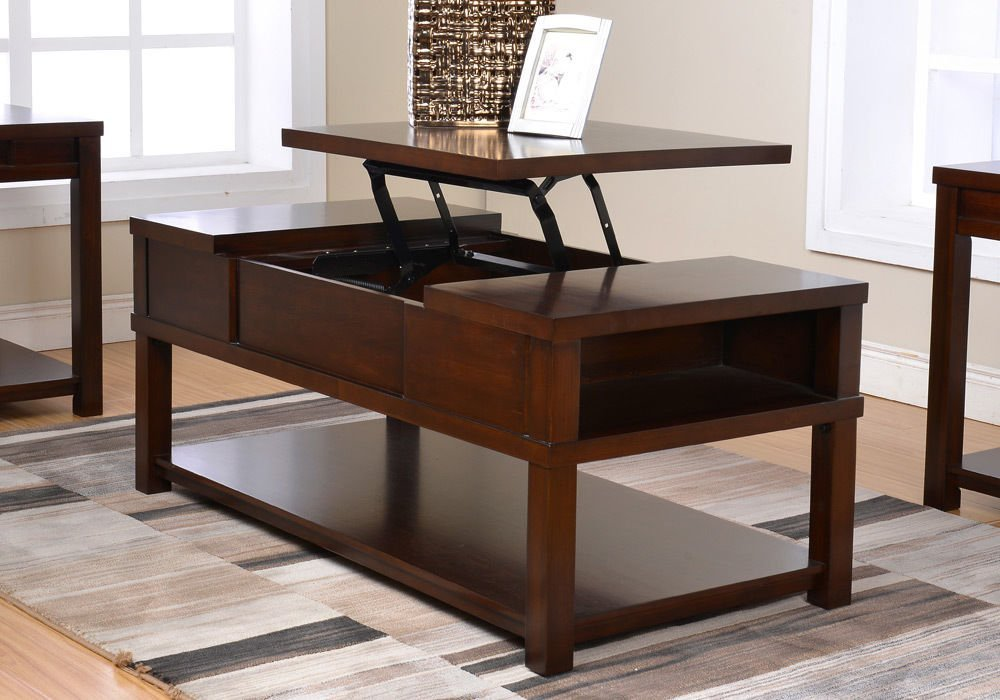 1PerfectChoice Wagner Living Room Lift-Top Cocktail Coffee Table Bottom Shelf Wood Caramel