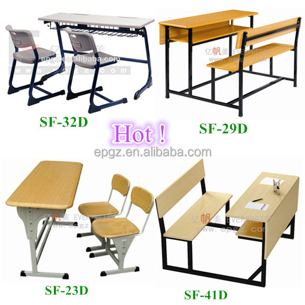 Wooden Double Height Adjustable MDF Top School Desk with Plywood Chairs SF-60D