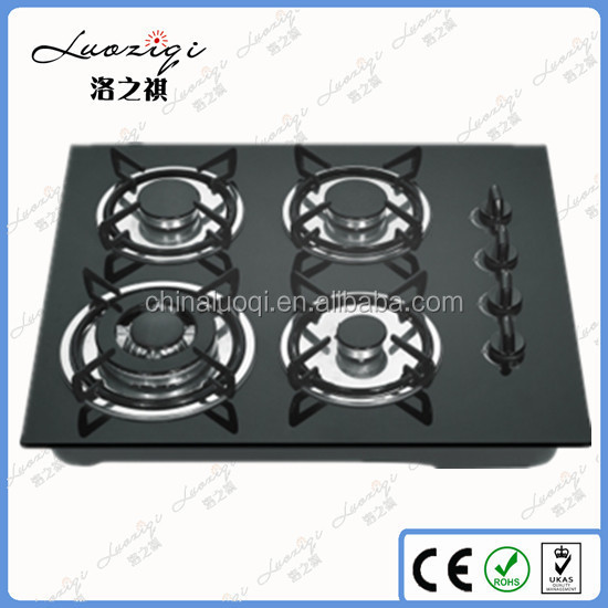 Built in Cooking Model 4 Gas Burner with Black Tempered Glass Panel