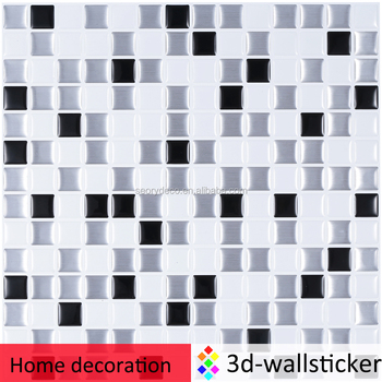Black and white steel square smart adhesive vinyl mosaic backsplash tiles 10 x10inch
