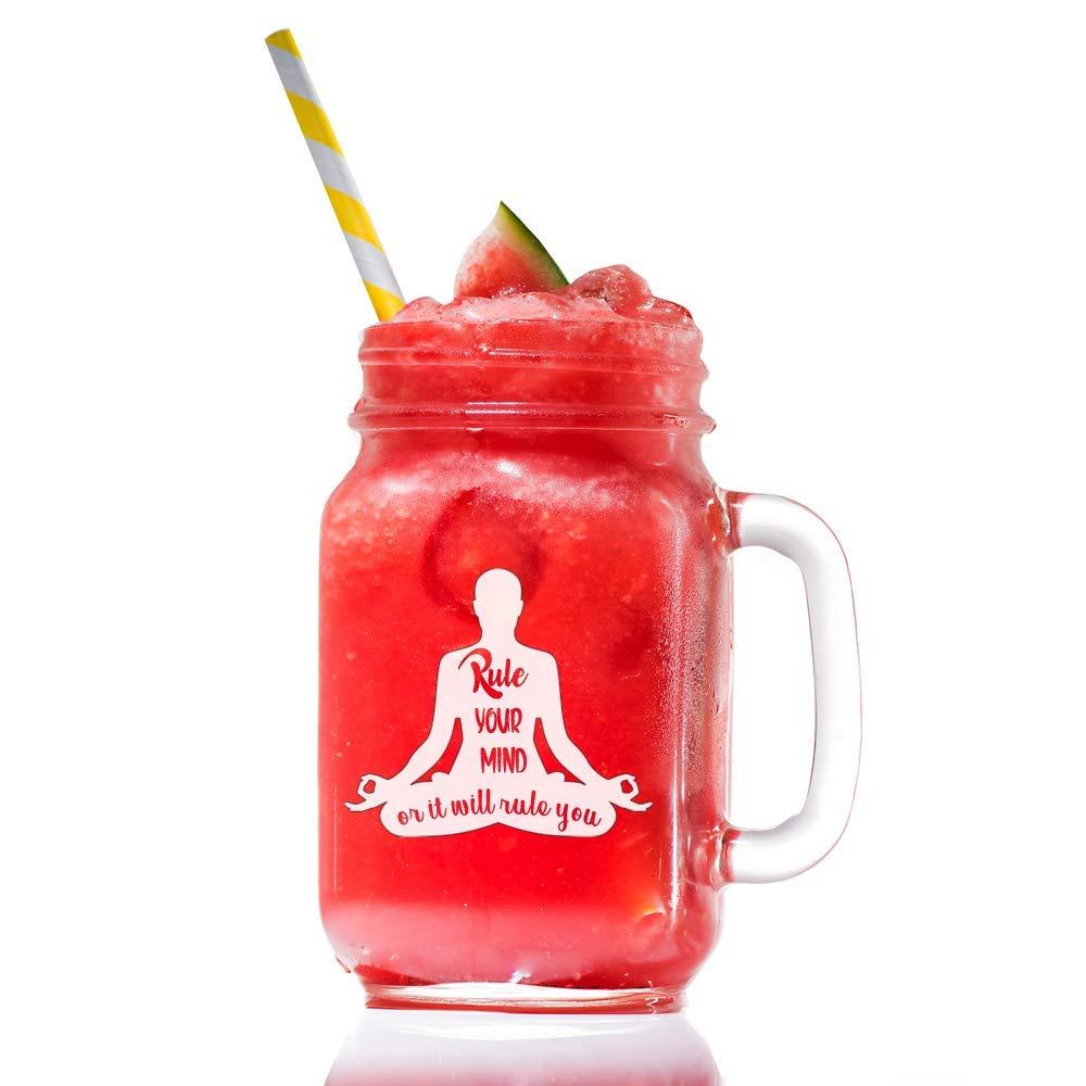 Yoga Wisdom, Rule Your Mind Or It Will Rule You, Custom Mason Jar Glass Gift, 14 ounce Mason Jar With Handle- 4 PC SET