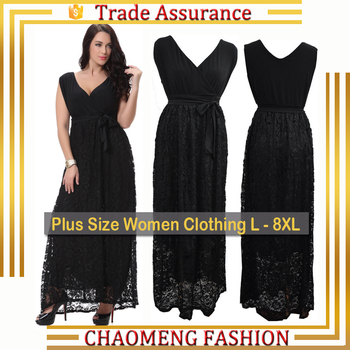 7005 New Fashion Latest Designs Sleeveless Fat Ladies Dresses Long