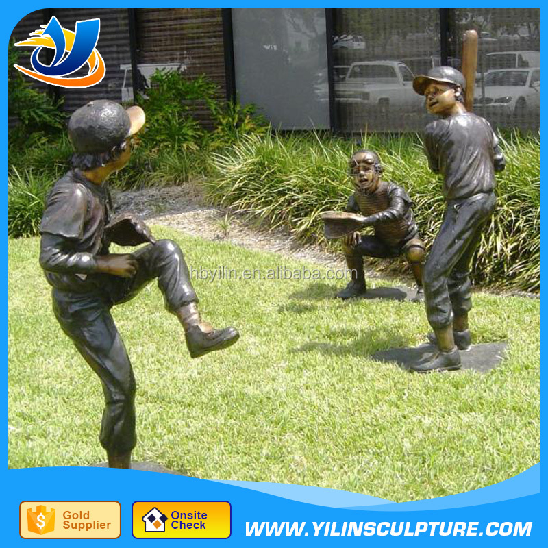 Garden Decoation Bronze Children Playing Baseball Statue