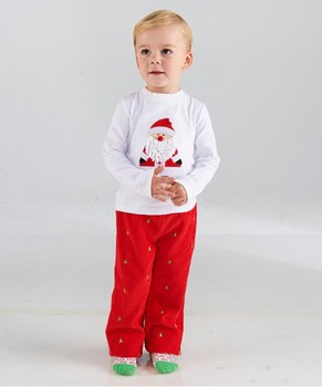 new 2pcs cut baby boy christmas santa clothes with long sleeve christmas outfit