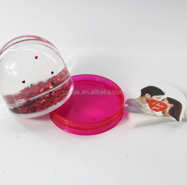 Promotional clear plastic acrylic snow globe photo insert with snow float
