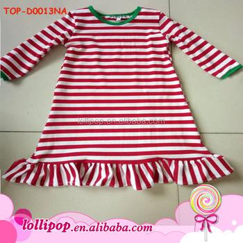eabd6b67c73f USA Apparel red white stripe green trim girls cotton frock designs Christmas  one piece girls dresses