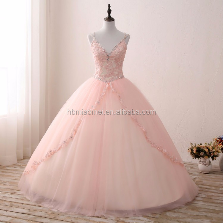 Puffy Ball Gown Princess Dress Pink Color Deep V Neck Bridal