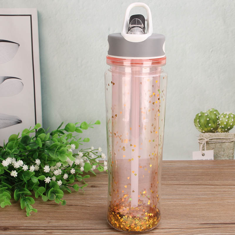 Promotional Double wall plastic glitter insert plastic water bottle with infuser