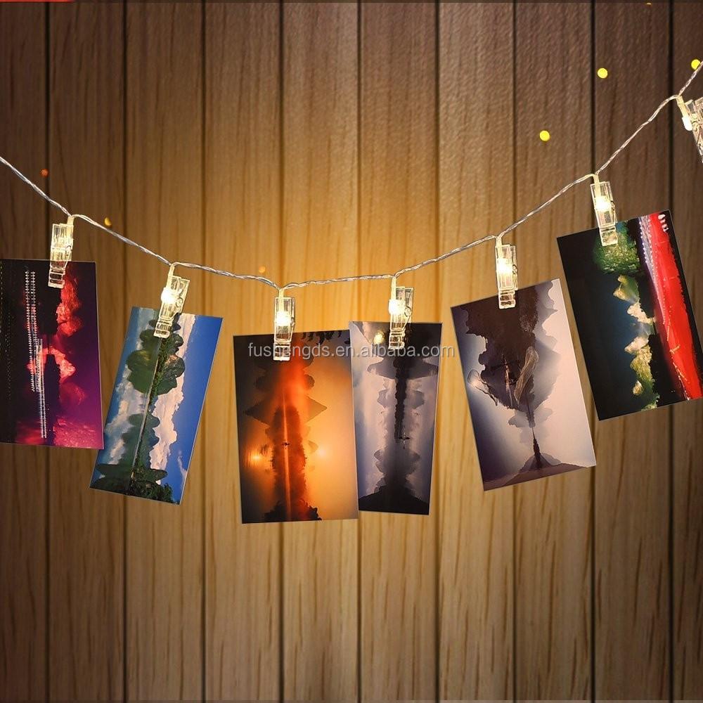 Comment Accrocher Une Guirlande Lumineuse Au Mur 20 led 3aa batterie/usb alimenté photo attache led guirlandes lumineuses  parfait pour accrocher des photos,des notes,de la lumière de décoration de  la