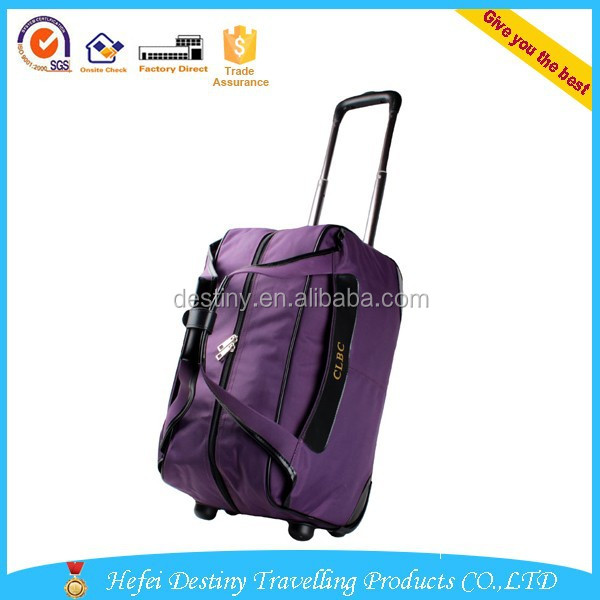 popular purple outdoor travelling 2 wheels waterproof best brand trolley bag