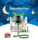 Cute Deer Cat Style Baby Monitor Temperature and Humidity Display, Real Baby Crying Alarm System Lullaby Music